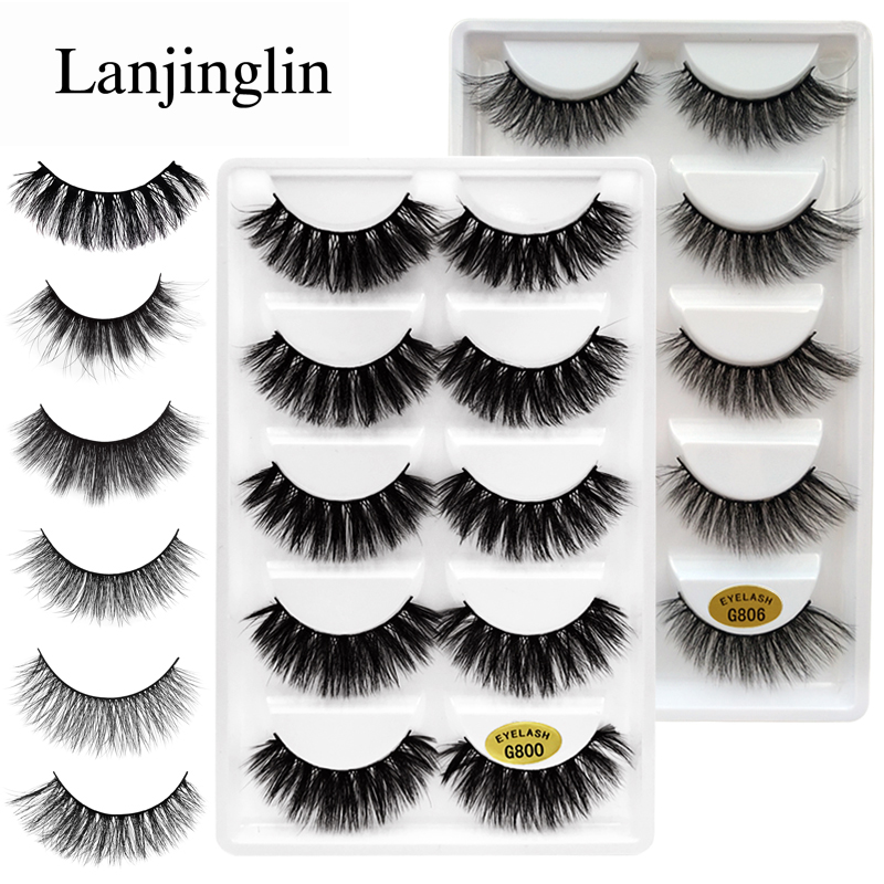 LANJINGLIN 5 Pairs False Eyelashes Natural Long 3D Mink Lashes Makeup Eyelash Extension Wispy Fluffy Fake Eye Lashes Faux Cilios