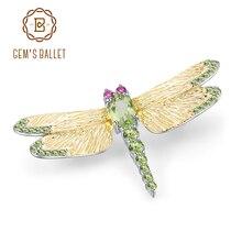 GEM'S BALLET 1.13Ct натуральный зеленый перидот драгоценный камень брошь 925 пробы серебро ручной работы Стрекоза Броши для женщин платья