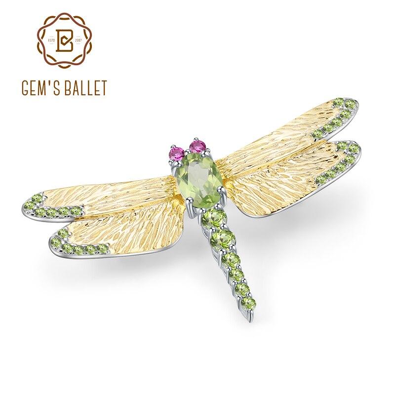 GEM'S BALLET 1.13Ct Natural Green Peridot Gemstone Brooch 925 Sterling Sliver Handmade Dragonfly Brooches For Women Dresses