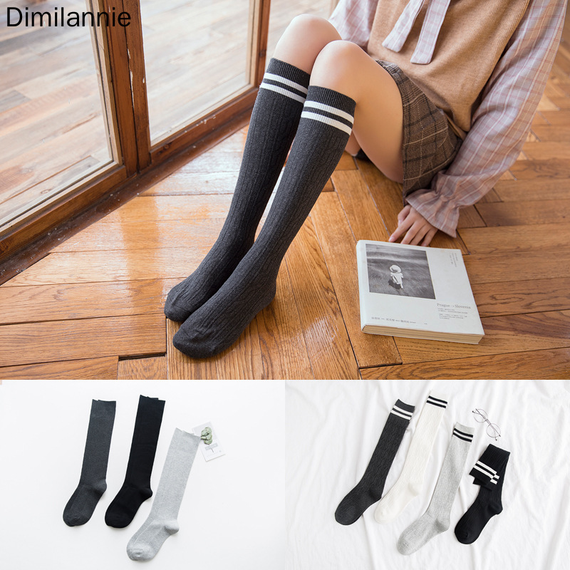 LITTHING 2019 Long Stockings Women Cotton Warm Thigh High New Fashion Striped Knee Socks Sexy Over The Knee Stockings For Ladies