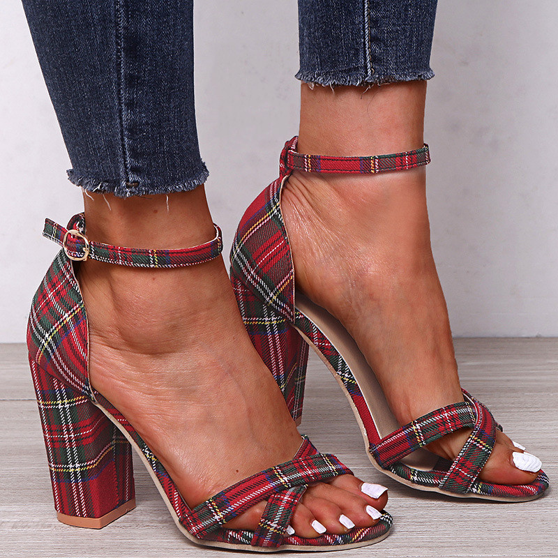 Women Sandals Canvas Pumps Super High Heels 10CM Square Heel Red Grid Striped Lady Sandals Open Peep Toe Shoes Plus Size 35-43