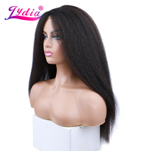 Lydia Long Kinky Straight Synthetic Wigs for Women Natural Black Middle Part Lace Wig Heat Resistant Fiber Natural Looking Wig