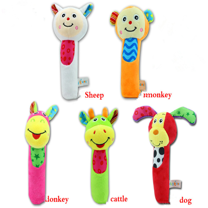 Sheep Dog Monkey Infant Rattle Baby Rattle Cartoon Hand Bells Plush Toy Music Rattle Educational Teether Kid Bed And Stroller