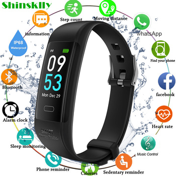 0.96 Inch Smart Band Bracelet Watch IP68 Waterproof Heart Rate Fitness Tracker Bracelet Music Control Men Women For Android IOS
