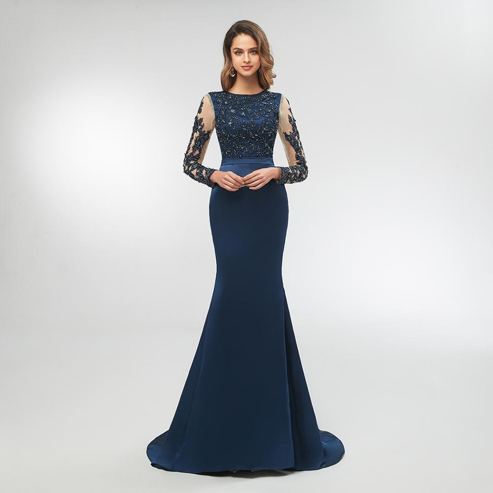 US $16.16 16% OFFNavy Blue High Neck Spitze Mermaid Party Kleider 16 Long  Sleeves Appliqued Abendkleider Lange Prom Kleid vestido longo festagown