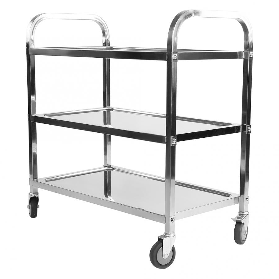 Folding 3 Tier Clearing Trolley Large 900X850X450mm Stainless Steel Catering Silver Sale Portable Plastic Shoping