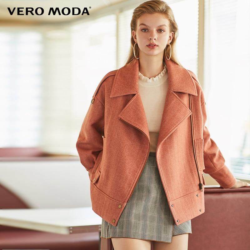 Vero Moda New Women's Lapel Sheep Wool Cotton Zip Motorcycle Jacket   319409505