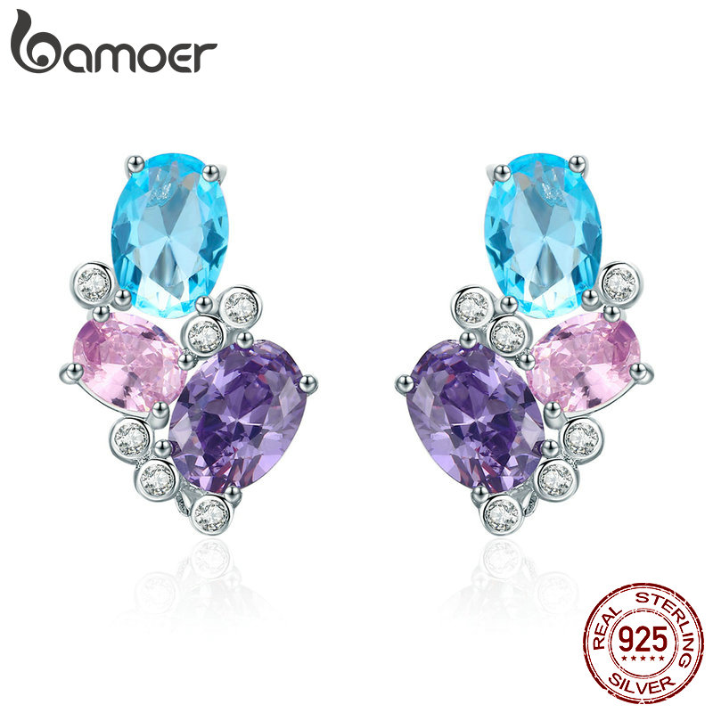 BAMOER Classic 100% 925 Sterling Silver Colorful Zircon Geometric Earrings Simple Stud Earrings For Women Silver Jewelry SCE579