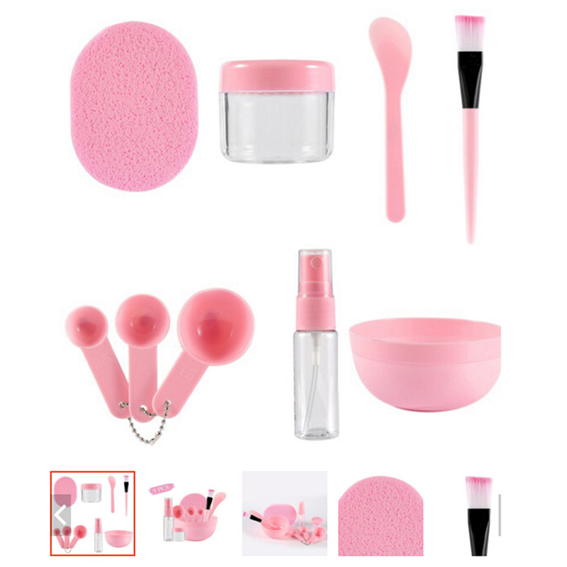 9 Pcs/Set Homemade Bowl Brush Spoon Stick Bottle Sponge DIY Face Mask Tools Kit Makeup Beauty Tool