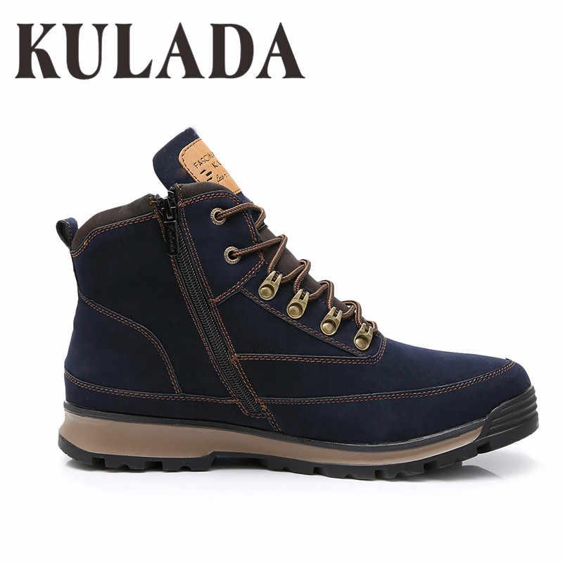 KULADA; Новинка; мужские зимние ботинки; мужские кроссовки для активного отдыха; теплая Модная обувь на шнуровке; Мужская защитная обувь