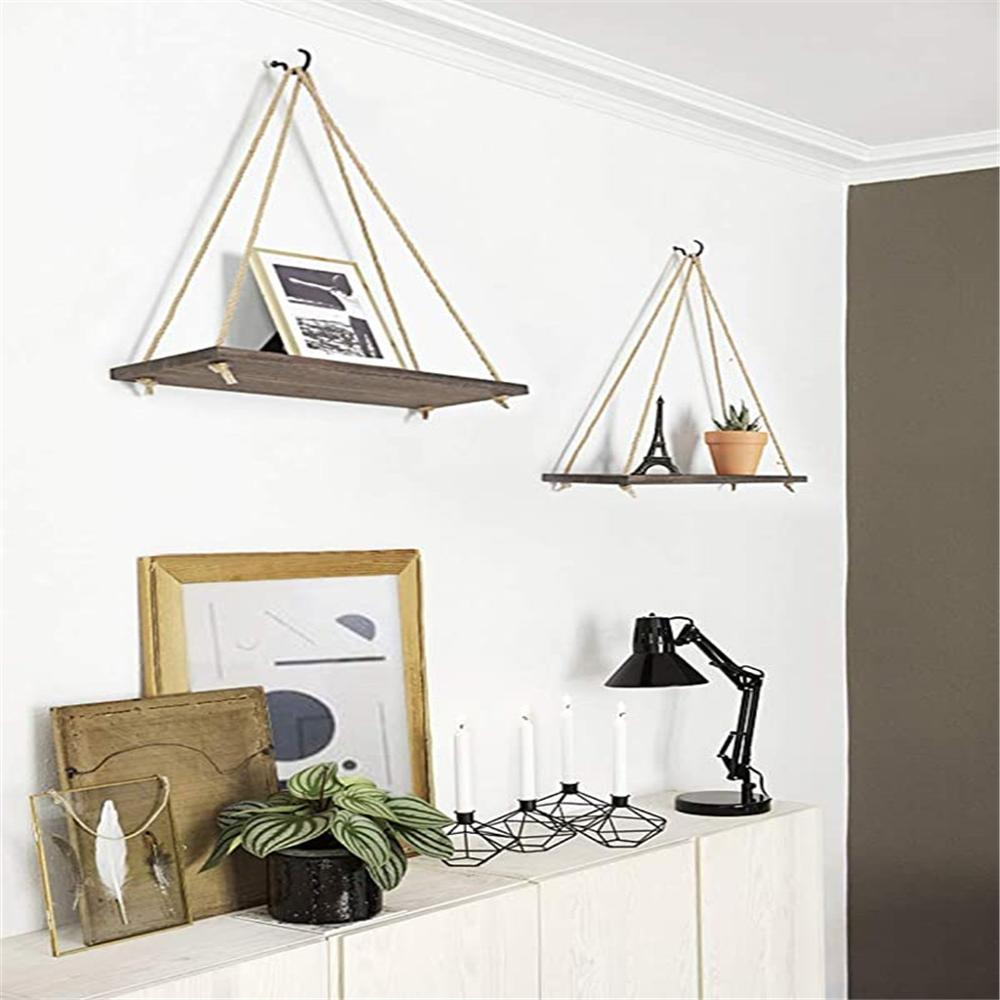 Premium Wood Swing Hanging Rope Wall Mounted Floating Shelves Plant Flower Pot indoor outdoor decoration simple design 4