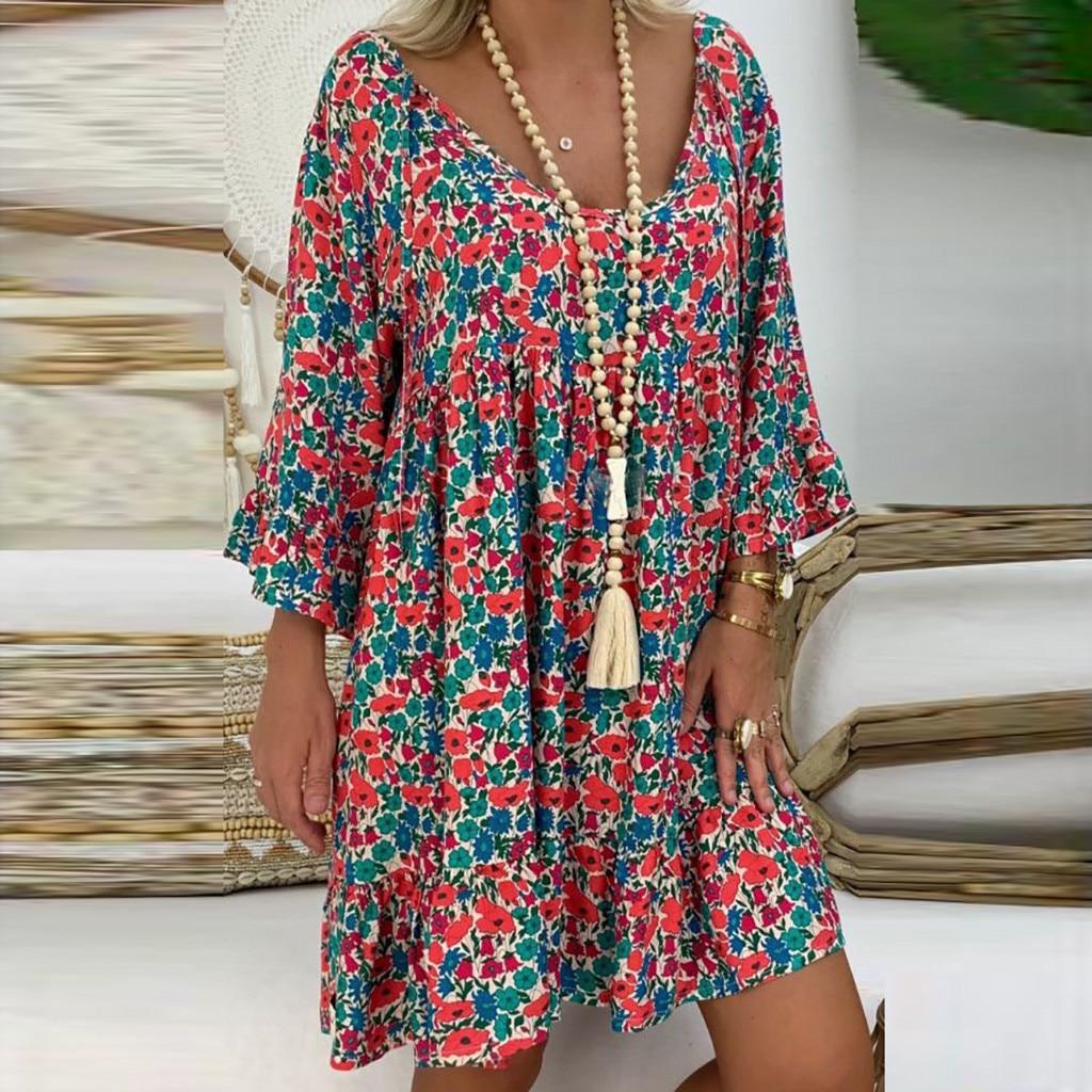 4# Women's Vintage Summer Dress Loose Plus Size Print Dresses V-neck Mini Dress Off Shoulder Dresses Ropa Mujer Beach Dress 1