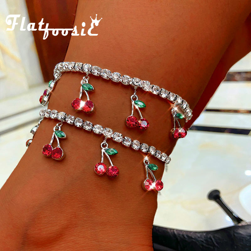 Flatfoosie Trendy New Sweet Cherry Crystal Anklet for Women Gold Silver Color Bling Rhinestone Anklet Boho Summer Foot Jewelry
