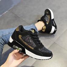 Baskets à lacets pour femmes, chaussures plates vulcanisées, scintillantes, décontractées, plate-forme à la mode, grande taille, automne, 2020