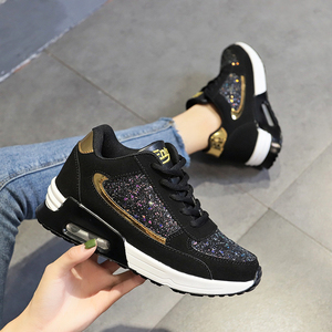 Women Lace Up Sneakers Glitter Autumn Flat Vulcanized Ladies Bling Casual Female Fashion Platform Plus Size Shoes 2020