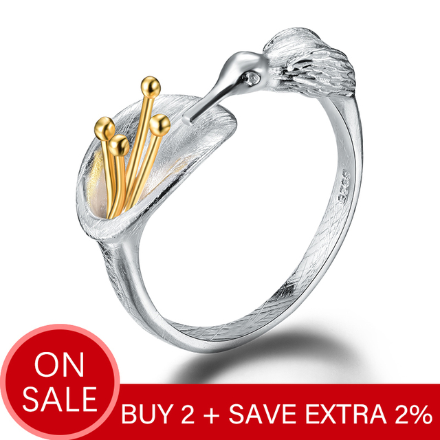 Lotus Fun Real 925 Sterling Silver Bird Ring Natural Creative Design Fine Jewelry Adjustable Hummingbird Rings for Women Bijoux 1