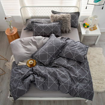 Simple Bedding Set Grey with White Design 15