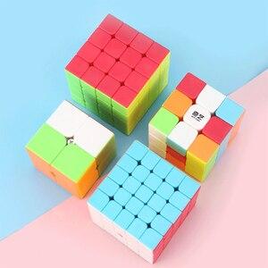 Image 2 - Qiyi Cube magique professionnel 2x2 3x3 4x4 5x5, Puzzle guerrier avec 2x2x2 3x3x3 4x4x4, jeu sans autocollants jouet de Cube