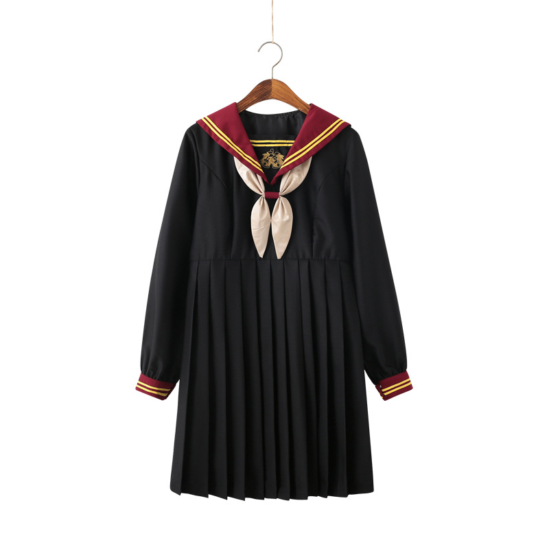 School Dresses For Women Short / Long Sleeve Suit School Uniforms With Bow Tie Pleated Dress Long Skirt Anime Form Costume Girls