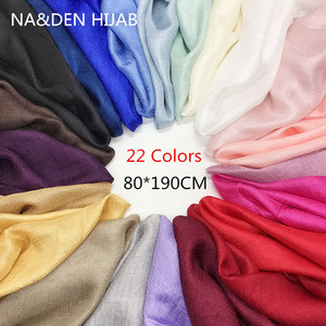 Image 1 - 1PCS החדש מכירה לוהטת נשים Shalws מוצק רגיל כורכת גבירותיי מוסלמי חיג אב ארוך צעיף סרט טהור צבע בנדנה משי כמו צעיפים