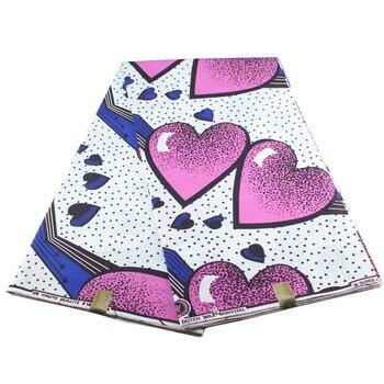 цена на Pink Heart Print Veritable Wax High Quality Ankara Hot Sale 2019 Wax Veritable Design For Nice Sewing Fabric