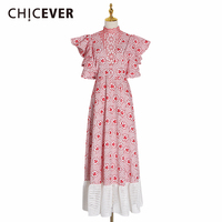 CHICEVER Embroidery Patchwork Winter Dress Women Stand Collar Butterfly Sleeve High Waist Hollow Out Ladies Dresses Clothing