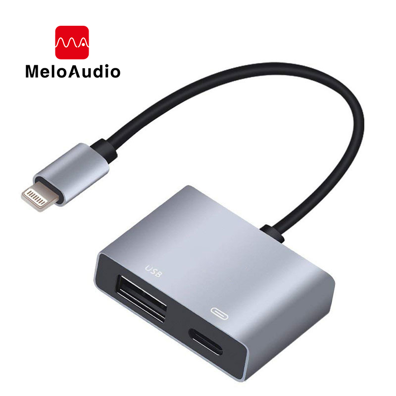MeloAudio For Lightning To USB Camera OTG Dapter, Male To Female, With Charging Interface For IPhone IPad Support USB Flash Disk