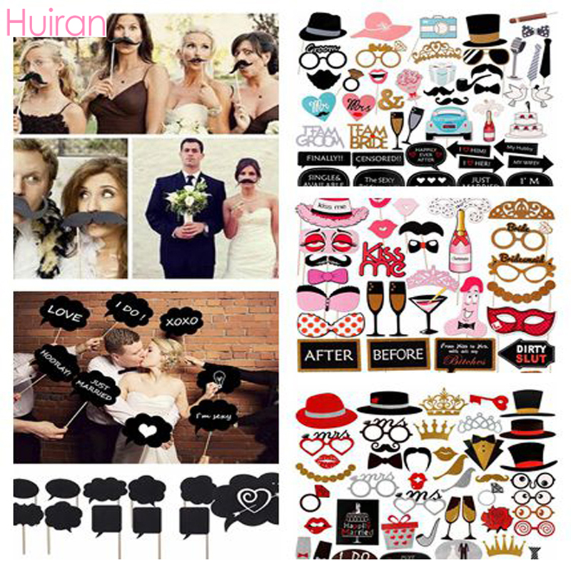 HUIRAN Photo Booth Just Married Photo Props Babyshower Girl Boy Funny Glasses Party Glasses Bride To Be Wedding Props Fake Beard