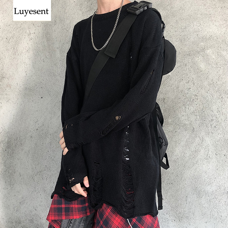 Solid Black Gray Cool Punk Unisex Pullover Sweater 2019 Women Man Hole Hollow Out Spilt O Neck Knit Top Gothic Broken Jumpers