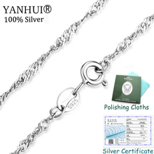 Have Certificate! Fashion Women Girl Jewelry Original 925 Silver Water Wave Ripples Chain Necklace Accessories Wholesale XL807