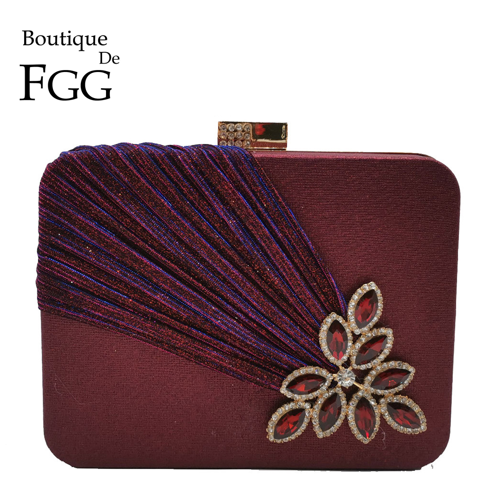 Boutique De FGG Wine Red Crystals Appliques Women Metal Box Clutch Evening Purses And Handbags Bridal Wedding Party Bag