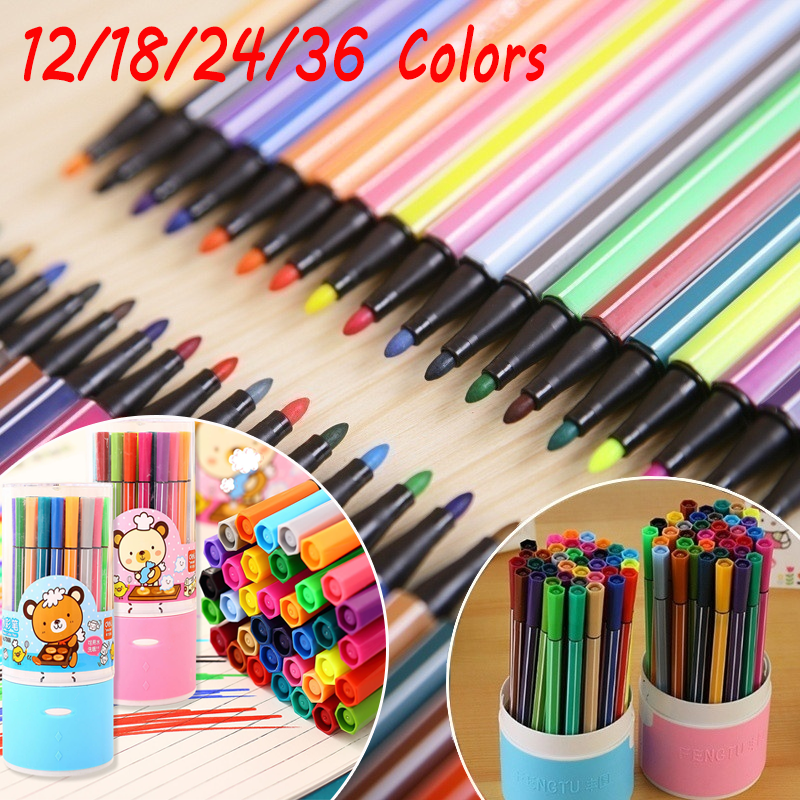 Children Painting 36/24/18/12 Non-toxic Color Washable Watercolor Pen Mark Painting Children Art Supplies