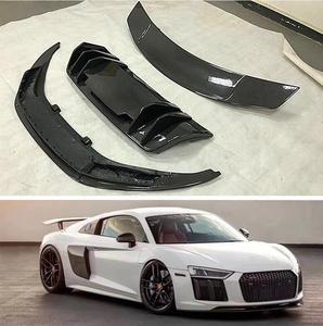 Fibra de carbono para difusor de parachoques trasero y alerón de ala y lateral para carrocería Kit de faldas para Audi R8 V8 V10 2017-2021