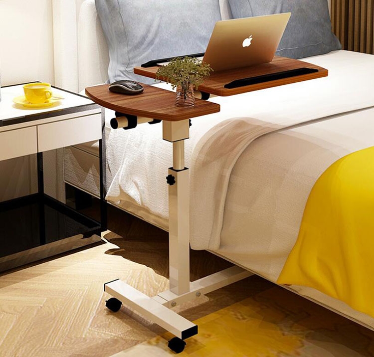Portable Adjustable Laptop Table With Wheel Rotate Standing Notebook Computer Table Lifting Desk For Sofa Bedside Study