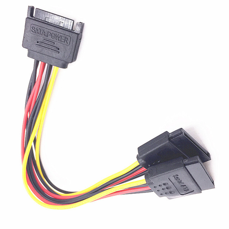 <font><b>15Pin</b></font> 20cm SATA <font><b>Male</b></font> to <font><b>Female</b></font> 2 SATA Splitter Cable Power Adapter Cord Extension Wire Line for HDD Hard Disk Splitter <font><b>Connector</b></font> image