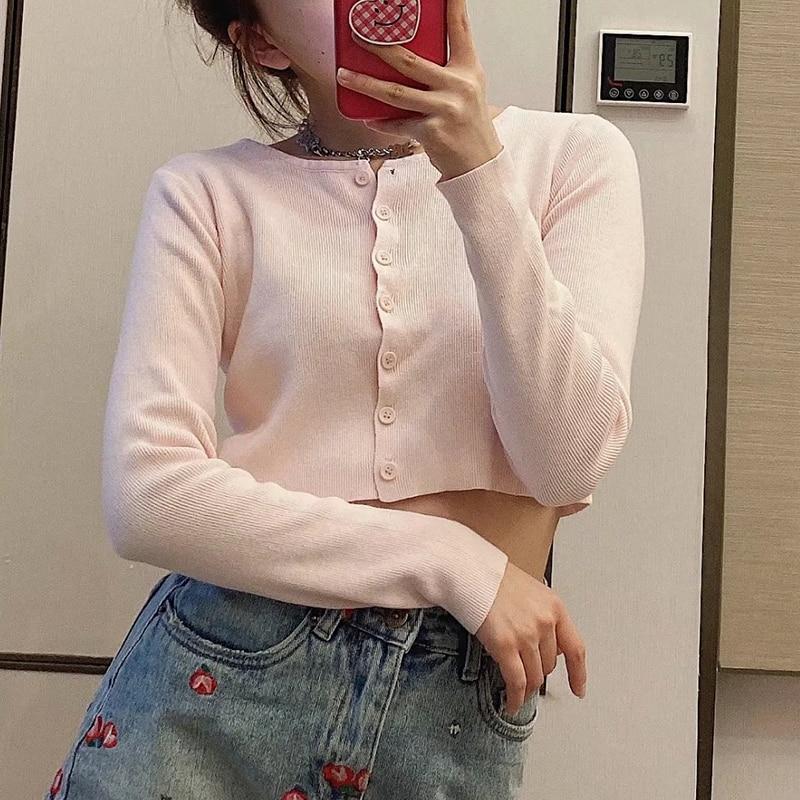 Slim girls short knitted blouse