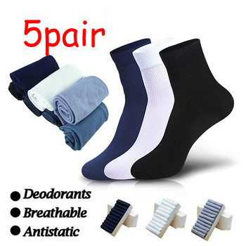 5pairs Men Socks New Styles Black Business Breathable Autumn Winter for Male Crew Silk Mens
