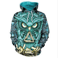 Autumn winter Fashion blue owl 3dD digital printing hooded long-sleeved couple Hooded casual loose female dropshipping