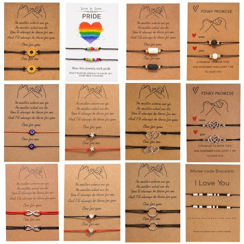 New Charm Bracelet For Friendship Couples 2pcs/set Volcanic stone bracelet Bead Bangles Women Man Lucky Wish Jewelry|Charm Bracelets|   - AliExpress