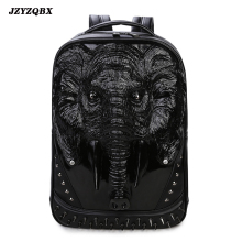 купить 3D Stereoscopic Elephant Head Backpack Men's Personality Rivets mochila Black Waterproof PU Leather mochilas по цене 3928.71 рублей