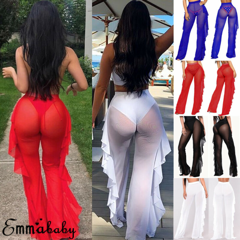 Gooheer New Sexy Ruffle Women Beach Mesh   Pants   Sheer   Wide     Leg     Pants   Transparent See through Sea Cover Up Trouser Pantalon