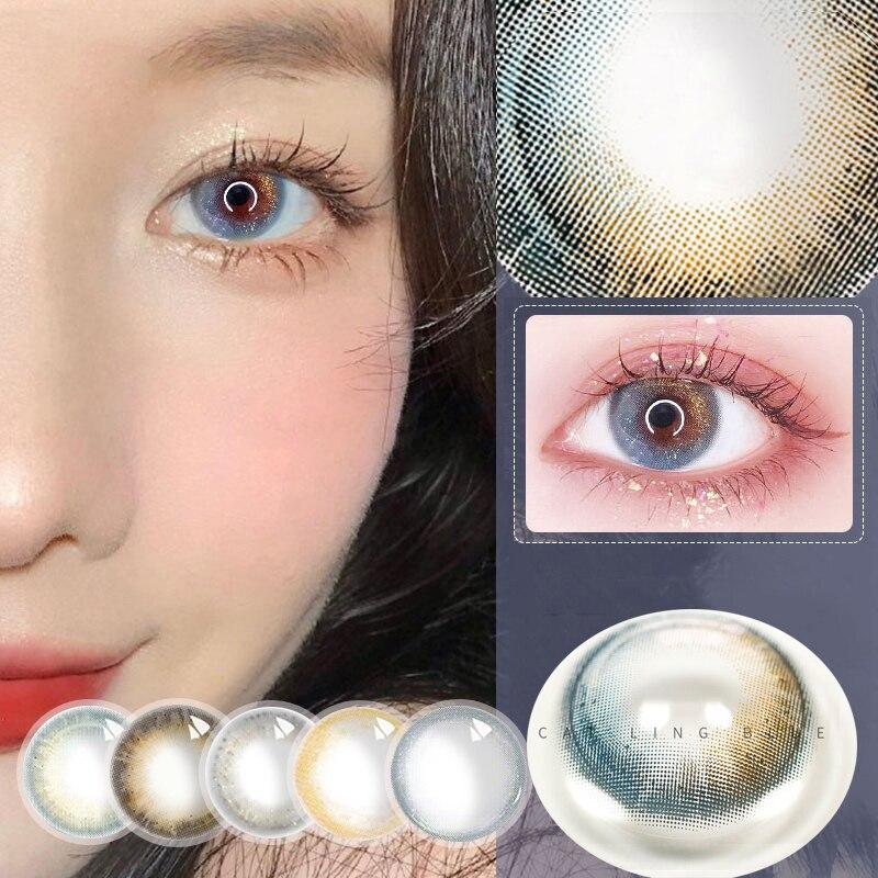 Диоптрий синий цвет по рецепту контактные линзы для правильной близорукости глаза зрачок красота Lentes Хэллоуин минус линзы для близорукост...