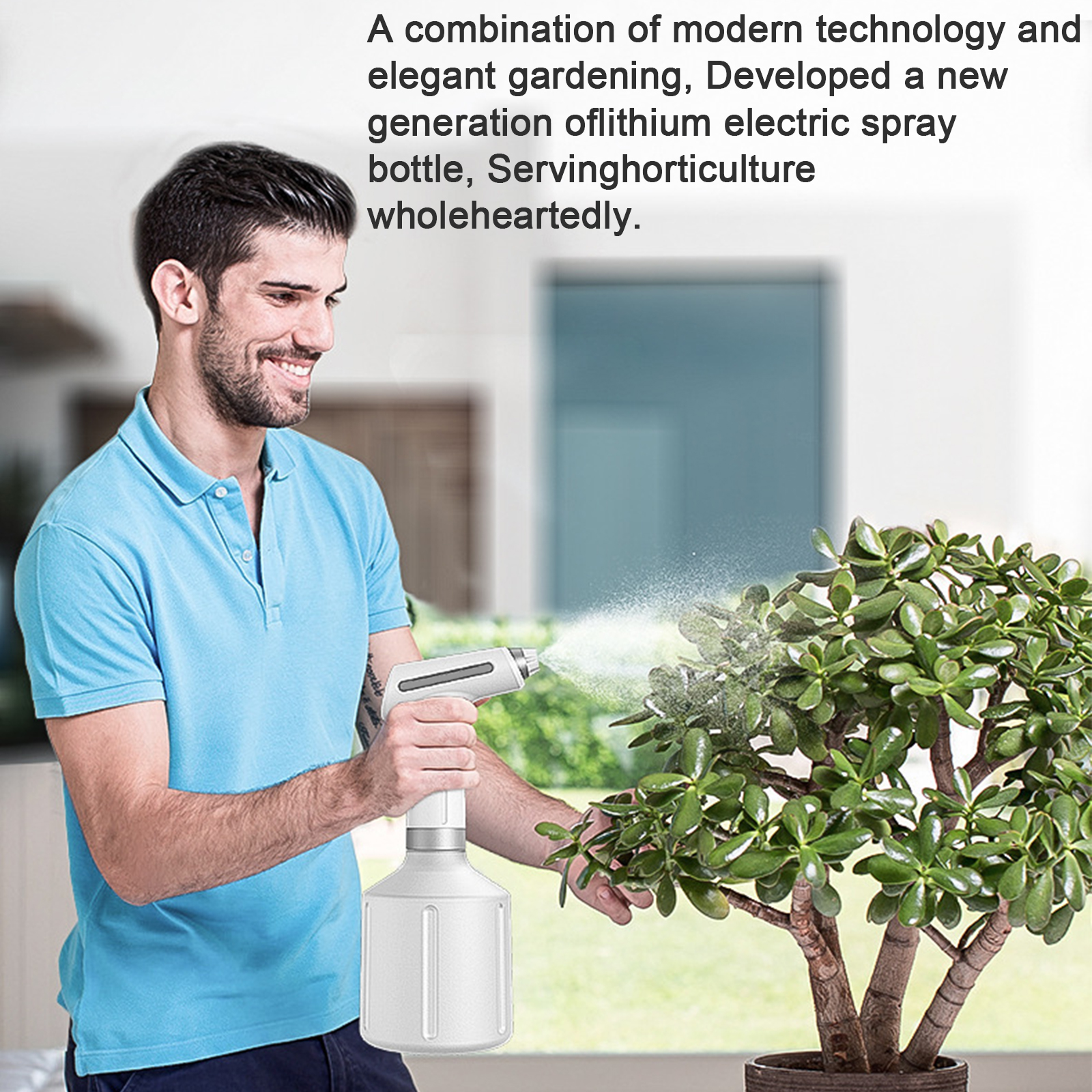 Electric Garden Sprayer Sprinklers and Accessories Spray Bottle Cleaning Stream and Fine Mist 900ML Battery Powered-2