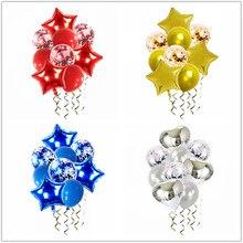 10 pçs ouro balões de ar aniversário estrela folha baloon hélio decoração da festa de aniversário crianças adultos bolas de prata azul bola globos