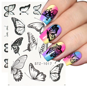1 Sheet Butterfly Nail Stickers Water Decals Floral Slider Full Wraps Nail Art Decorations Adhesive Sticker LASTZ982-1017-1