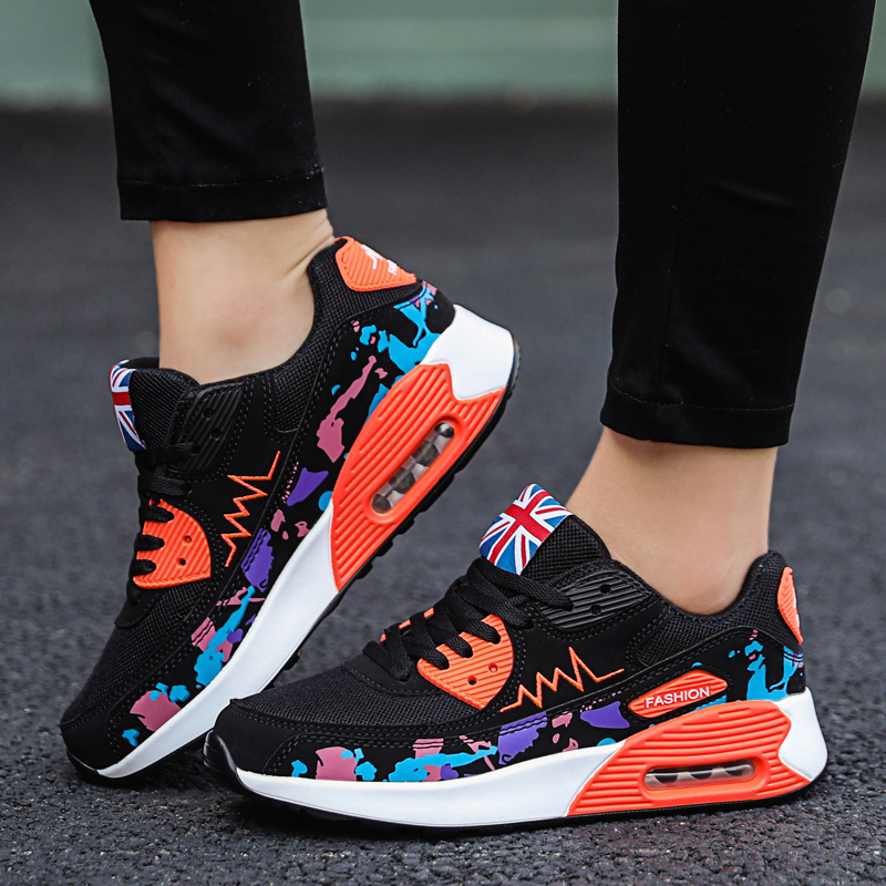 Image 5 - Mesh Women Sneakers Air Cushion Flats Fashion Thick Bottom Womens Platform Sneakers Casual Shoes Zapatos De Mujer New Hot SaleWomens Vulcanize Shoes   -