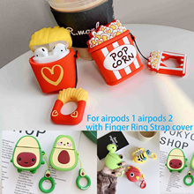 For AirPods Case Cute cartoon dinosaur /avocado French Fry /cactus silicon Cover Air pods 2 Bluetooth Wireless Earphone