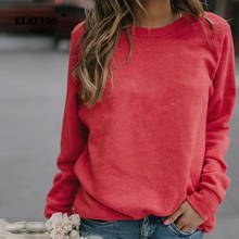 ELSVIOS 5XL Fashion Round Neck Long Sleeve Sweatshirt Women
