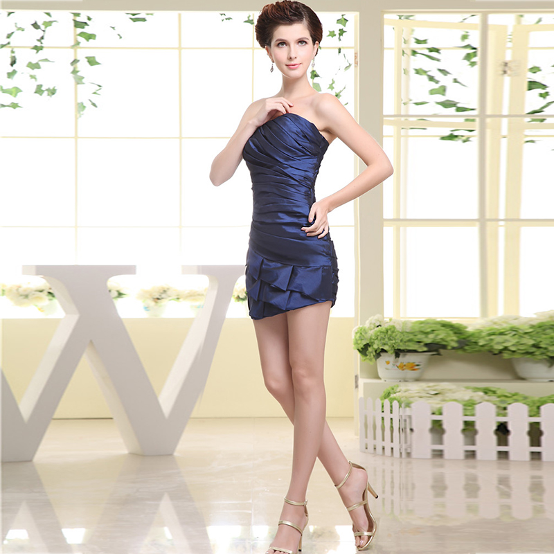 2020 Latest Simple sexy bra dress Folds short Taffeta Bridesmaid Dress Ink-Blue Colour Prom Dress Plus Size