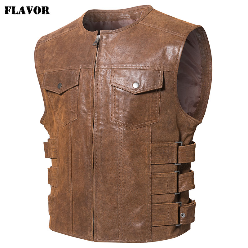FLAVOR New Men's Real Leather Motorcycle Vest